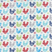 Birds Multi Folk Art Holiday Fabric - per quarter metre